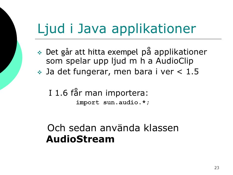 Ljud i Java applikationer