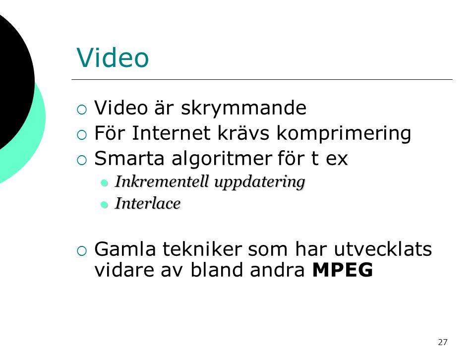 Video Video är skrymmande För Internet krävs komprimering
