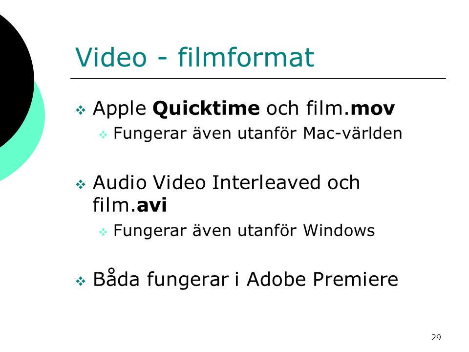 Video - filmformat Apple Quicktime och film.mov