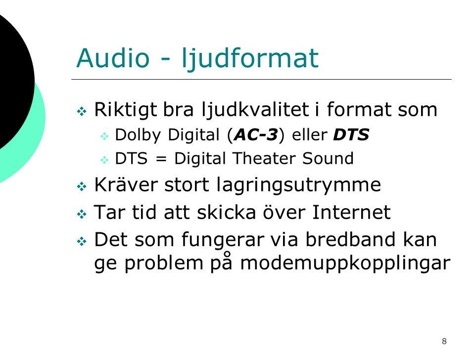 Audio - ljudformat Riktigt bra ljudkvalitet i format som