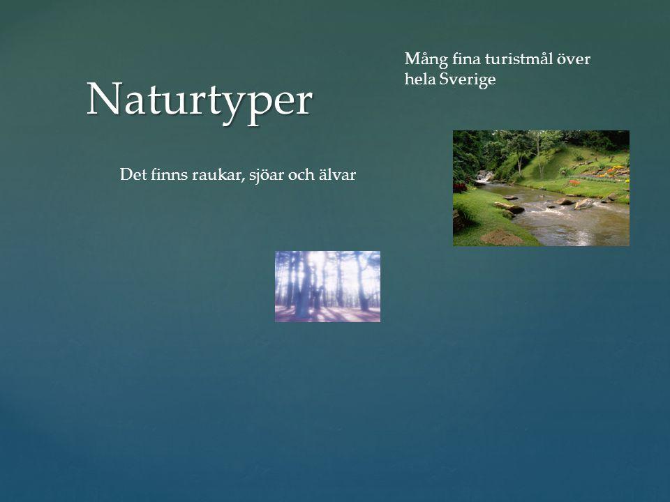 Naturtyper Mång fina turistmål över hela Sverige