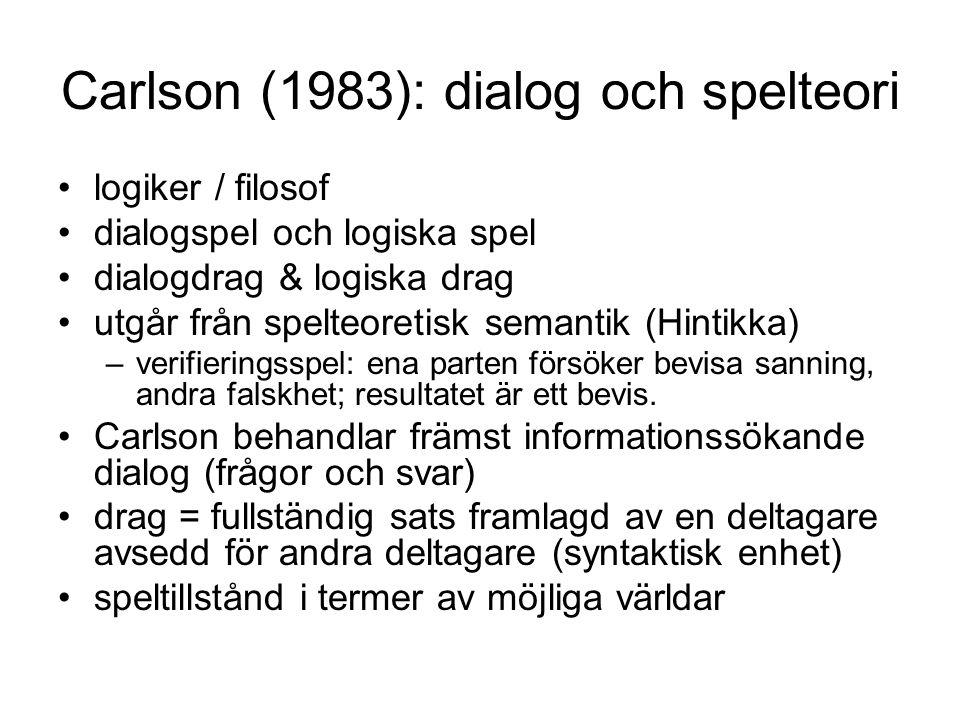 Carlson (1983): dialog och spelteori