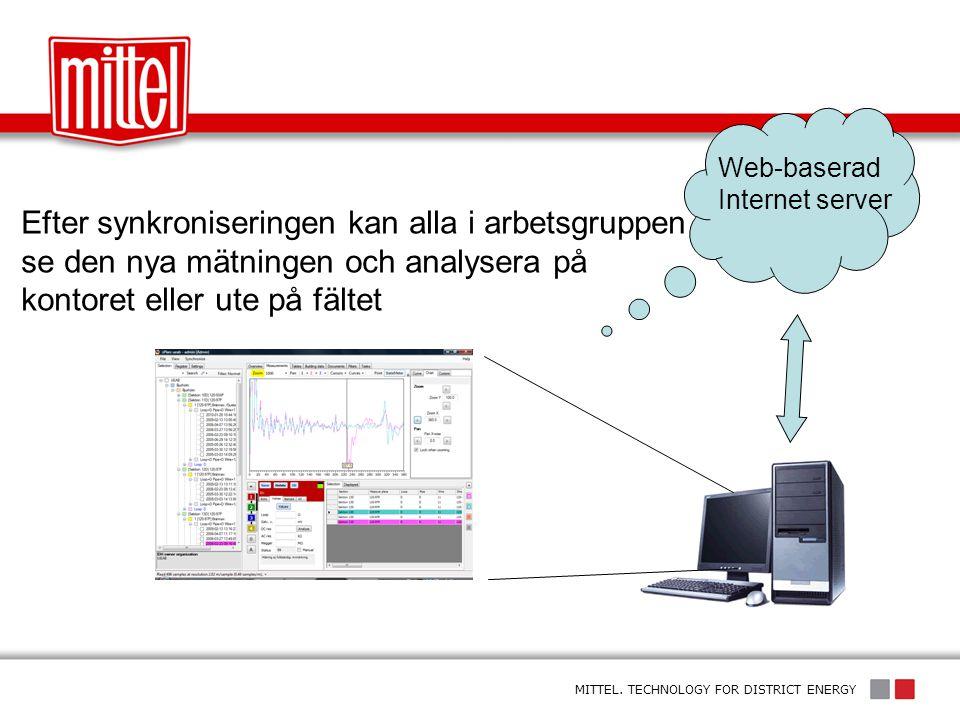 Web-baserad Internet server. Efter synkroniseringen kan alla i arbetsgruppen se den nya mätningen och analysera på kontoret eller ute på fältet.