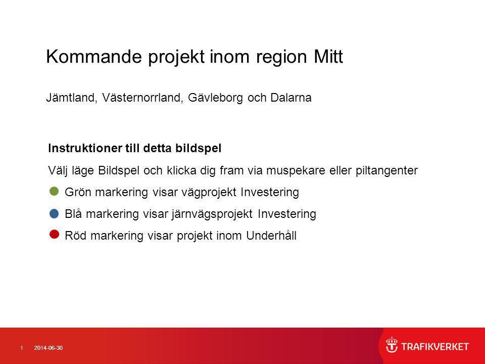 Kommande projekt inom region Mitt Jämtland, Västernorrland, Gävleborg och Dalarna