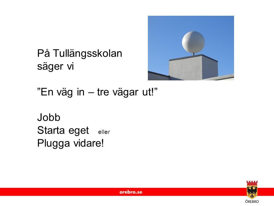 På Tullängsskolan säger vi En väg in – tre vägar ut! Jobb Starta eget eller Plugga vidare!