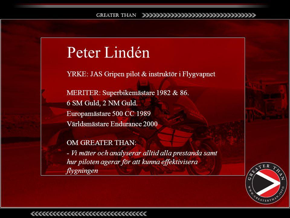 Peter Lindén YRKE: JAS Gripen pilot & instruktör i Flygvapnet