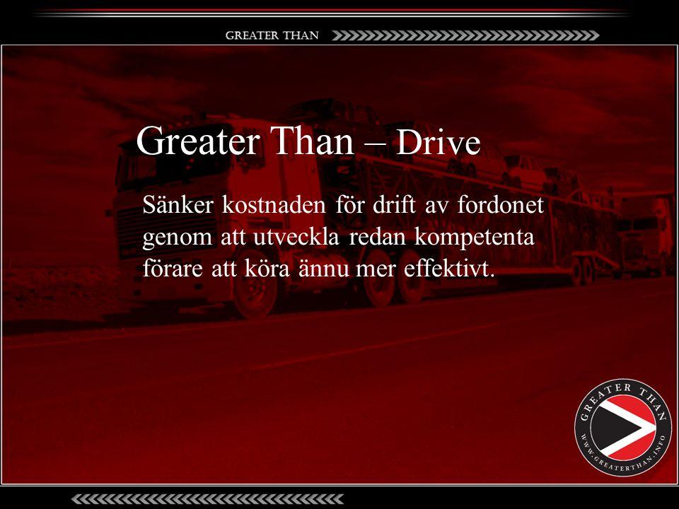 Greater Than – Drive Sänker kostnaden för drift av fordonet genom att utveckla redan kompetenta förare att köra ännu mer effektivt.