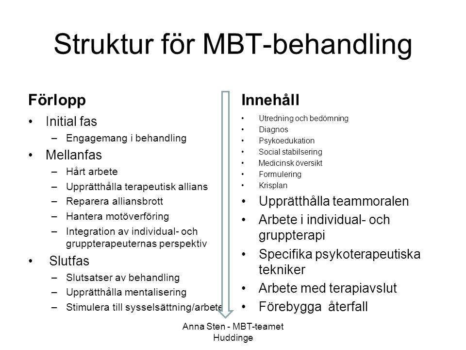 Struktur för MBT-behandling