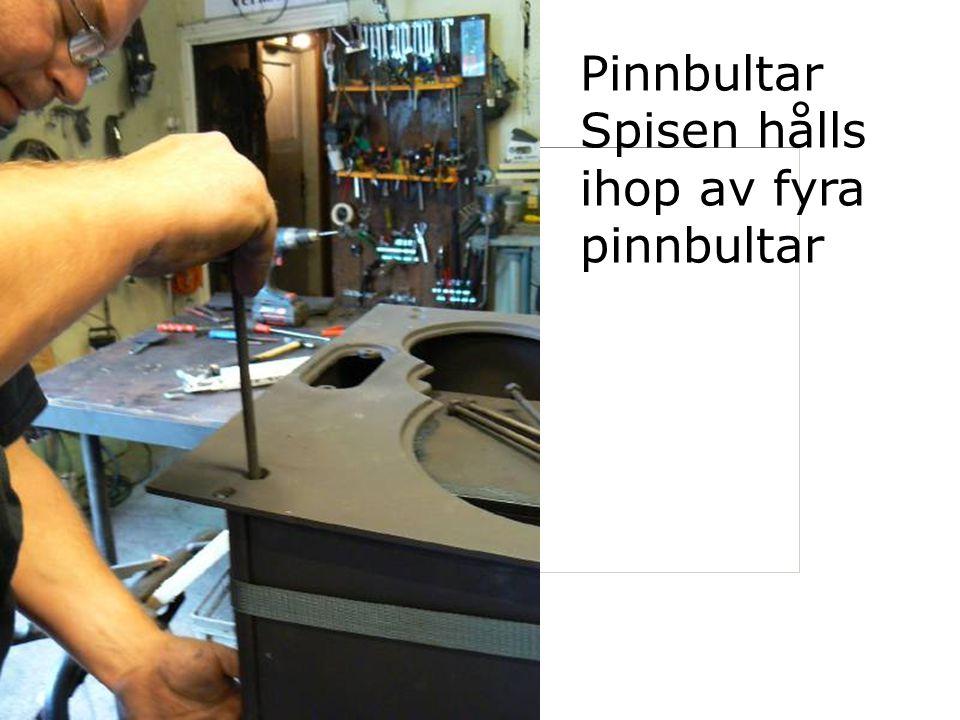 Pinnbultar Spisen hålls ihop av fyra pinnbultar
