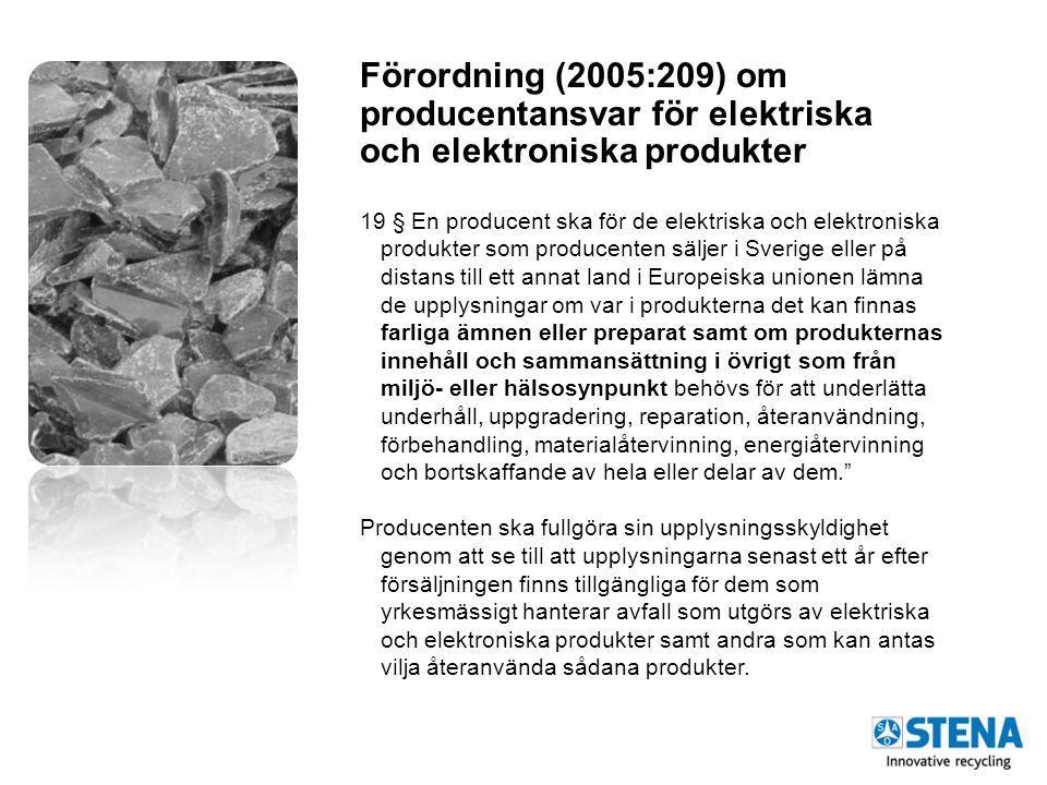 Förordning (2005:209) om producentansvar för elektriska och elektroniska produkter