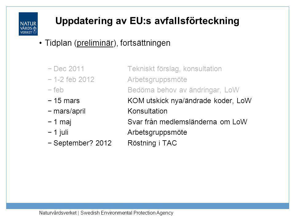 Uppdatering av EU:s avfallsförteckning