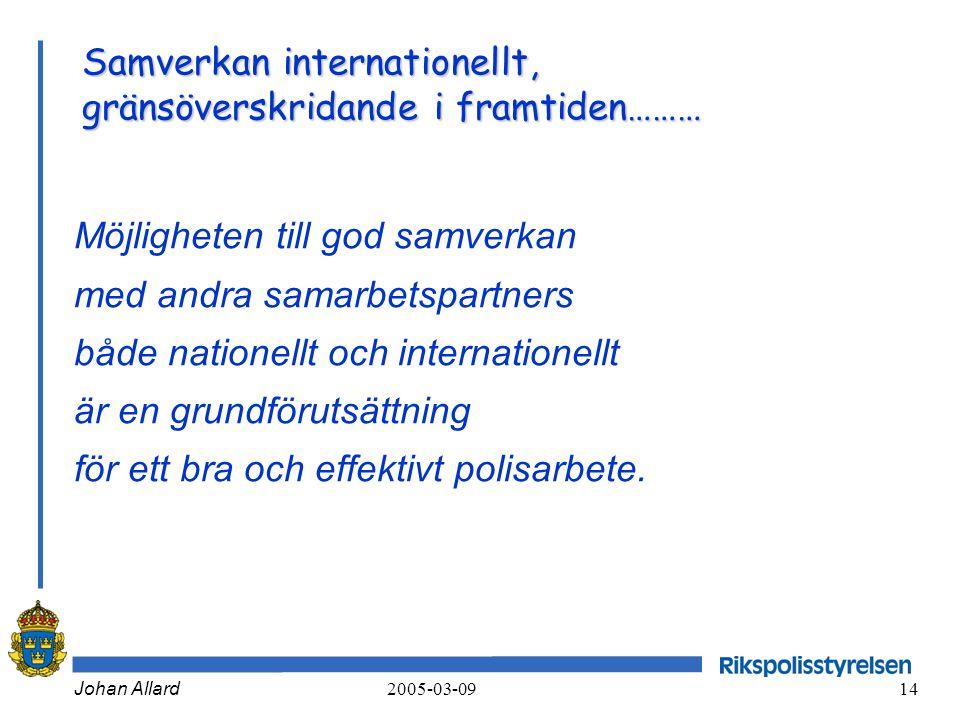 Samverkan internationellt, gränsöverskridande i framtiden………