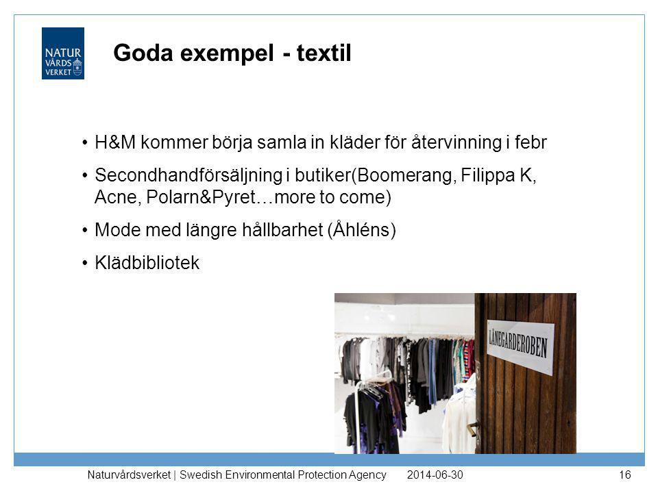 Goda exempel - textil H&M kommer börja samla in kläder för återvinning i febr.