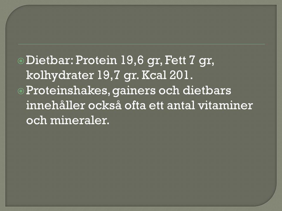 Dietbar: Protein 19,6 gr, Fett 7 gr, kolhydrater 19,7 gr. Kcal 201.