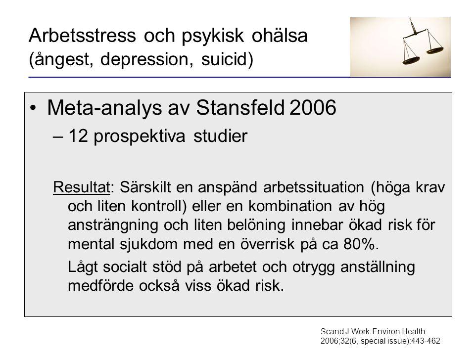 Arbetsstress och psykisk ohälsa (ångest, depression, suicid)