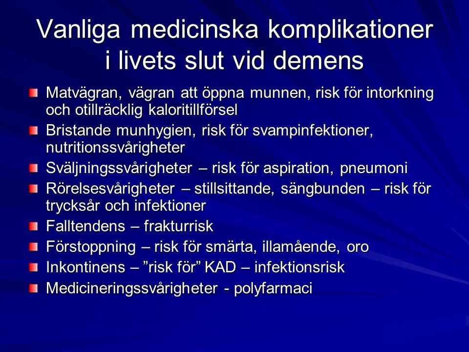 Vanliga medicinska komplikationer i livets slut vid demens