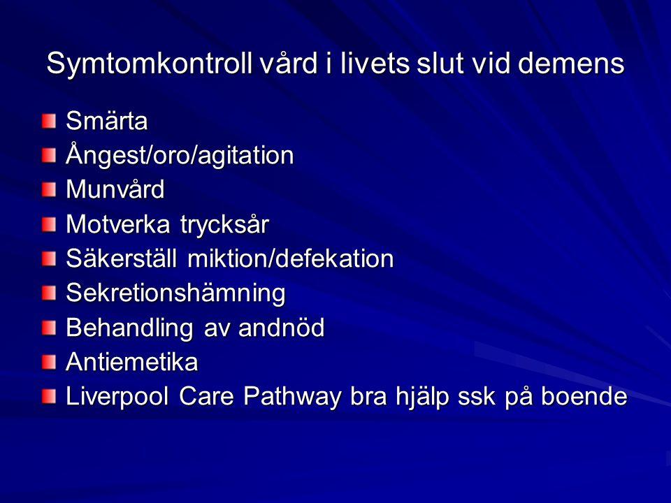 Symtomkontroll vård i livets slut vid demens