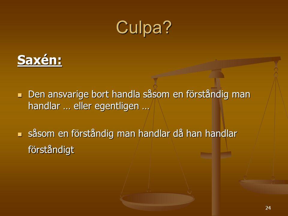 Culpa Saxén: Den ansvarige bort handla såsom en förståndig man handlar … eller egentligen …