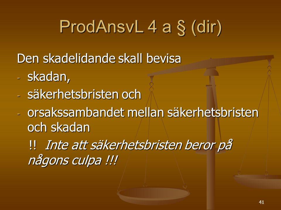 ProdAnsvL 4 a § (dir) Den skadelidande skall bevisa skadan,
