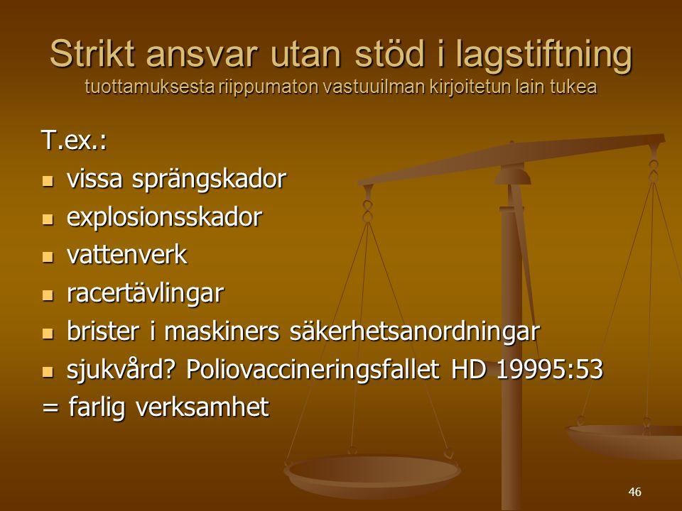 Strikt ansvar utan stöd i lagstiftning tuottamuksesta riippumaton vastuuilman kirjoitetun lain tukea