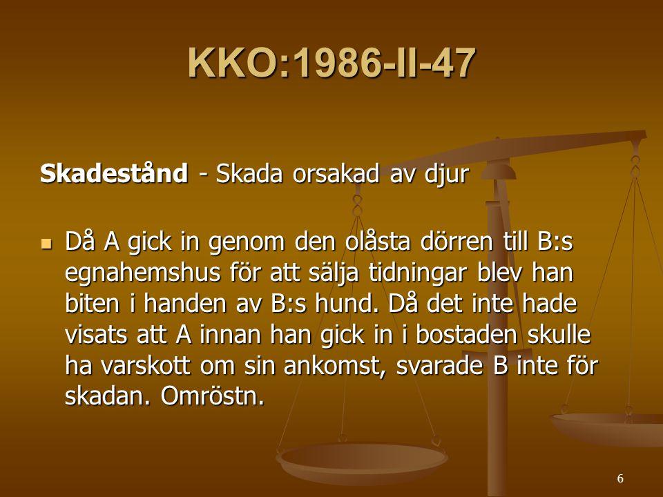KKO:1986-II-47 Skadestånd - Skada orsakad av djur