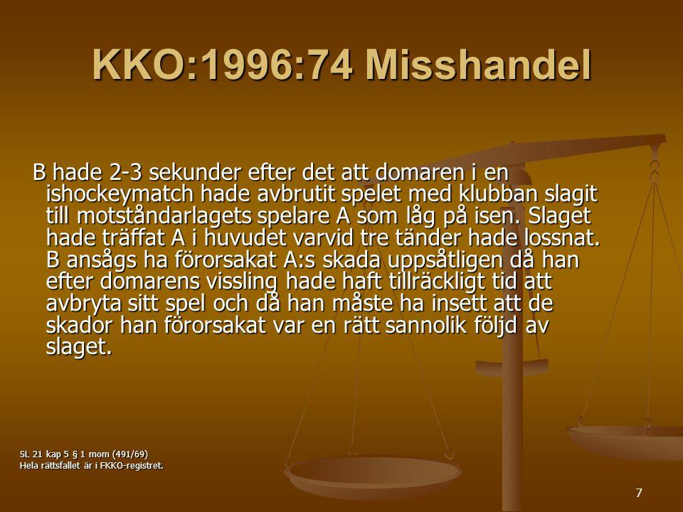 KKO:1996:74 Misshandel