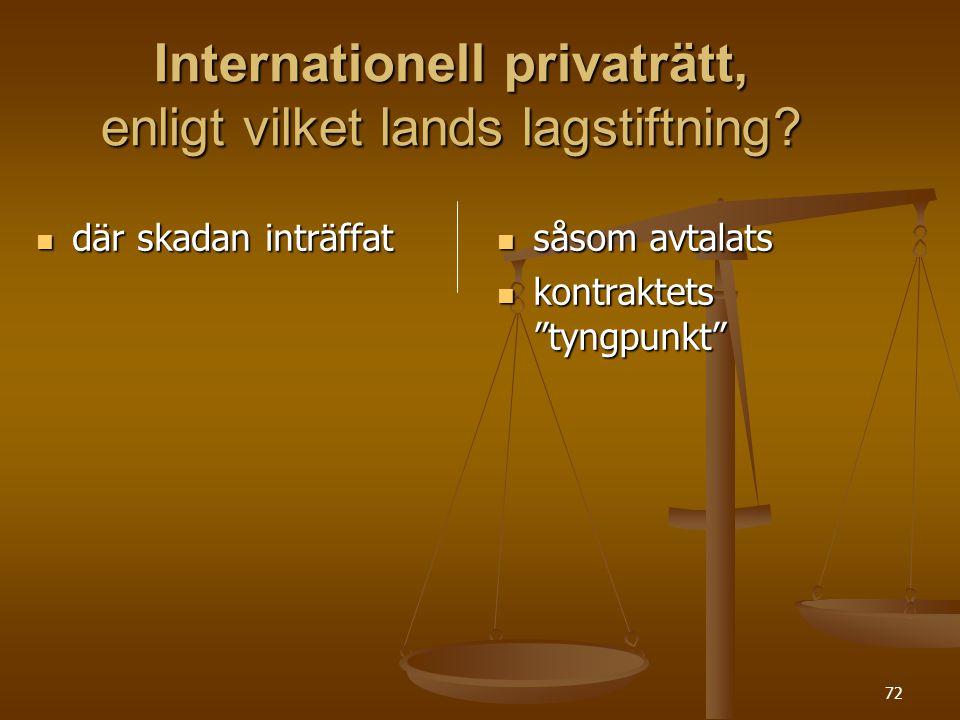 Internationell privaträtt, enligt vilket lands lagstiftning