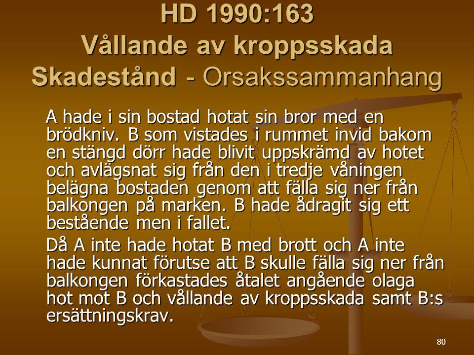 HD 1990:163 Vållande av kroppsskada Skadestånd - Orsakssammanhang