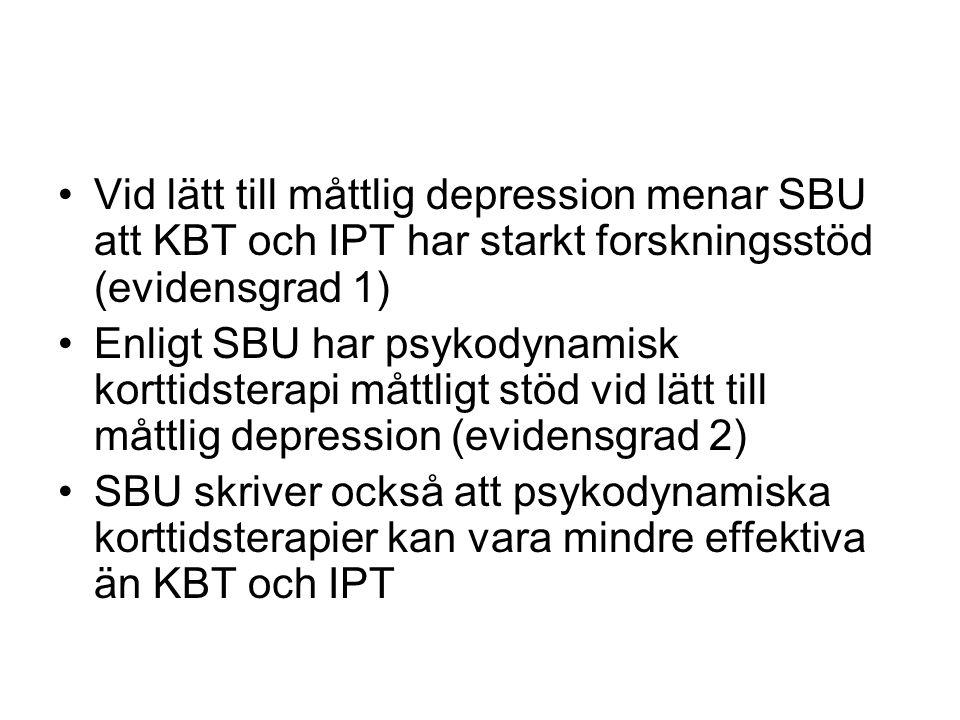 Vid lätt till måttlig depression menar SBU att KBT och IPT har starkt forskningsstöd (evidensgrad 1)