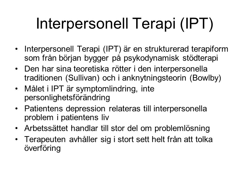 Interpersonell Terapi (IPT)