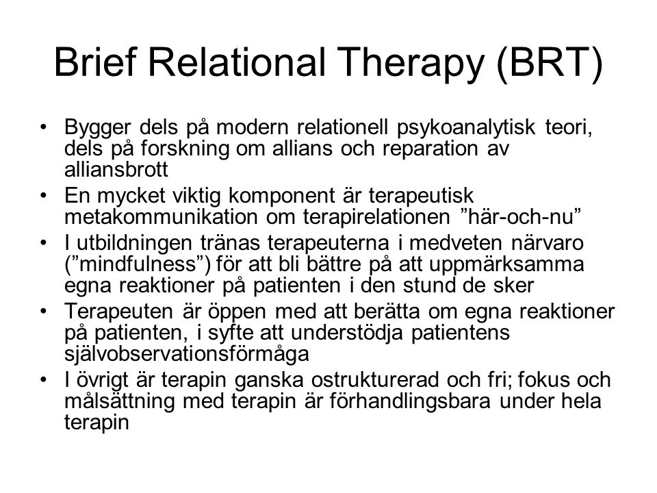 Brief Relational Therapy (BRT)