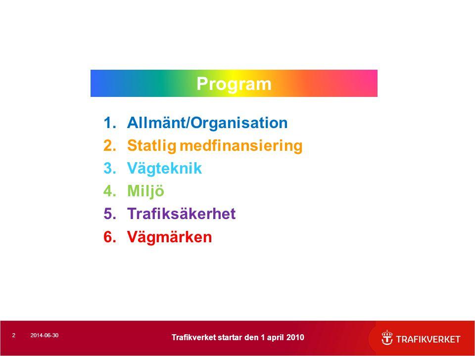 Program Allmänt/Organisation Statlig medfinansiering Vägteknik Miljö
