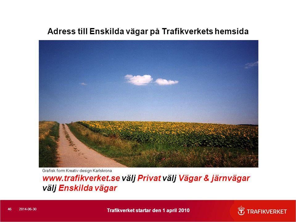 Adress till Enskilda vägar på Trafikverkets hemsida