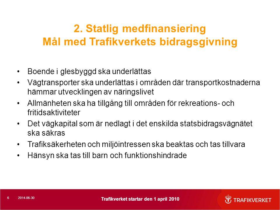 2. Statlig medfinansiering Mål med Trafikverkets bidragsgivning