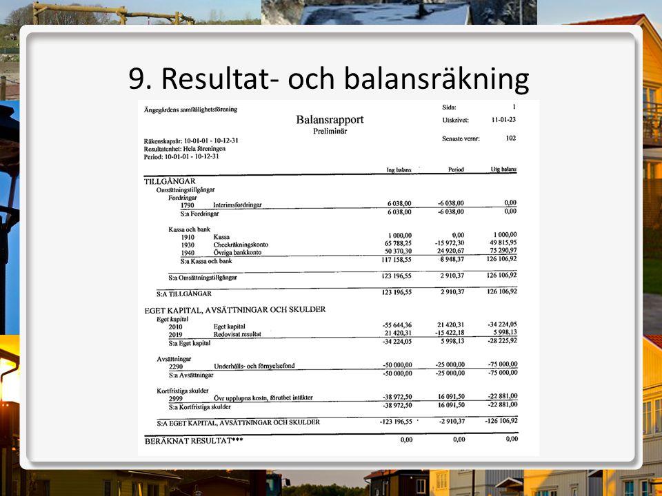 9. Resultat- och balansräkning