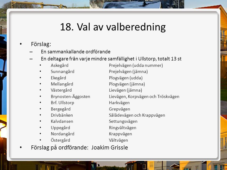 18. Val av valberedning Förslag: Förslag på ordförande: Joakim Grissle