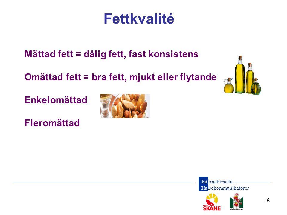 Fettkvalité Mättad fett = dålig fett, fast konsistens