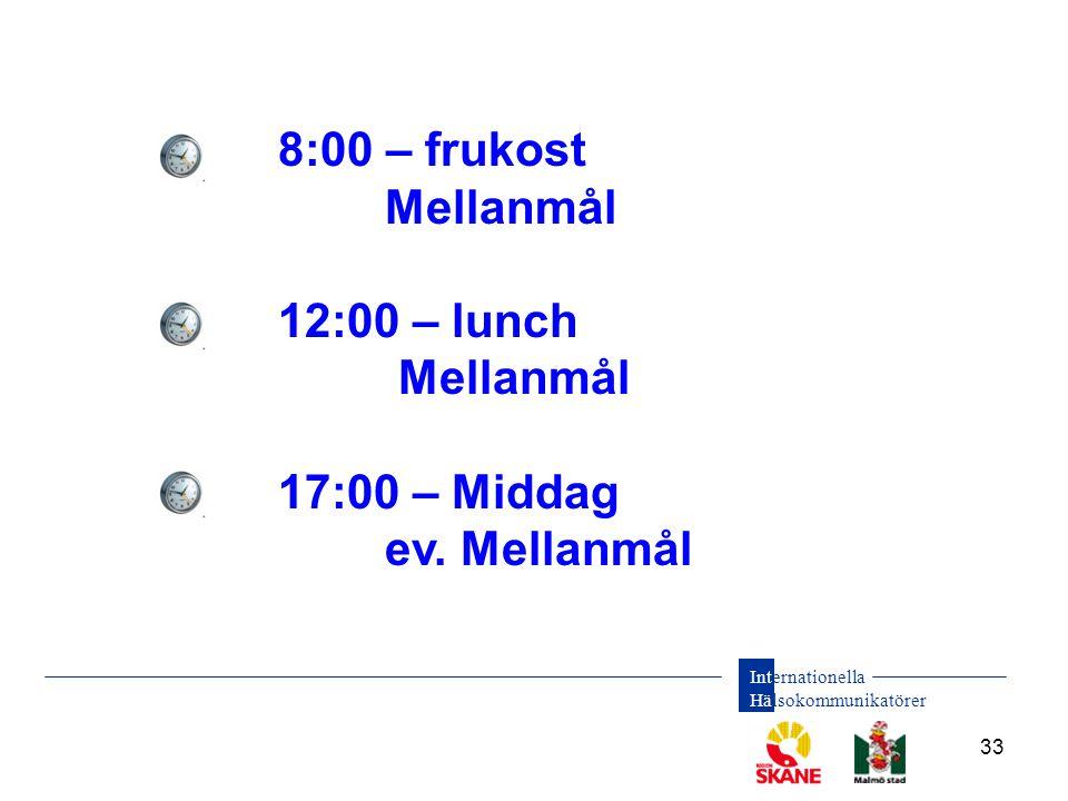 8:00 – frukost Mellanmål 12:00 – lunch 17:00 – Middag ev. Mellanmål