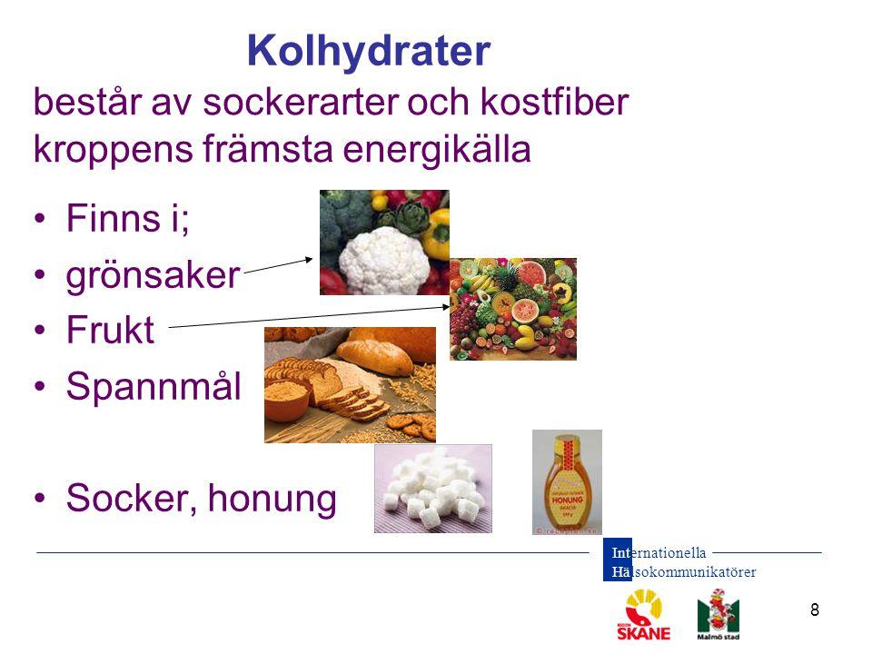 består av sockerarter och kostfiber kroppens främsta energikälla