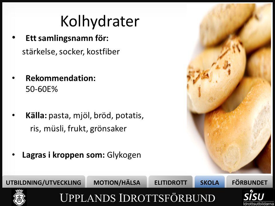 Kolhydrater Ett samlingsnamn för: stärkelse, socker, kostfiber