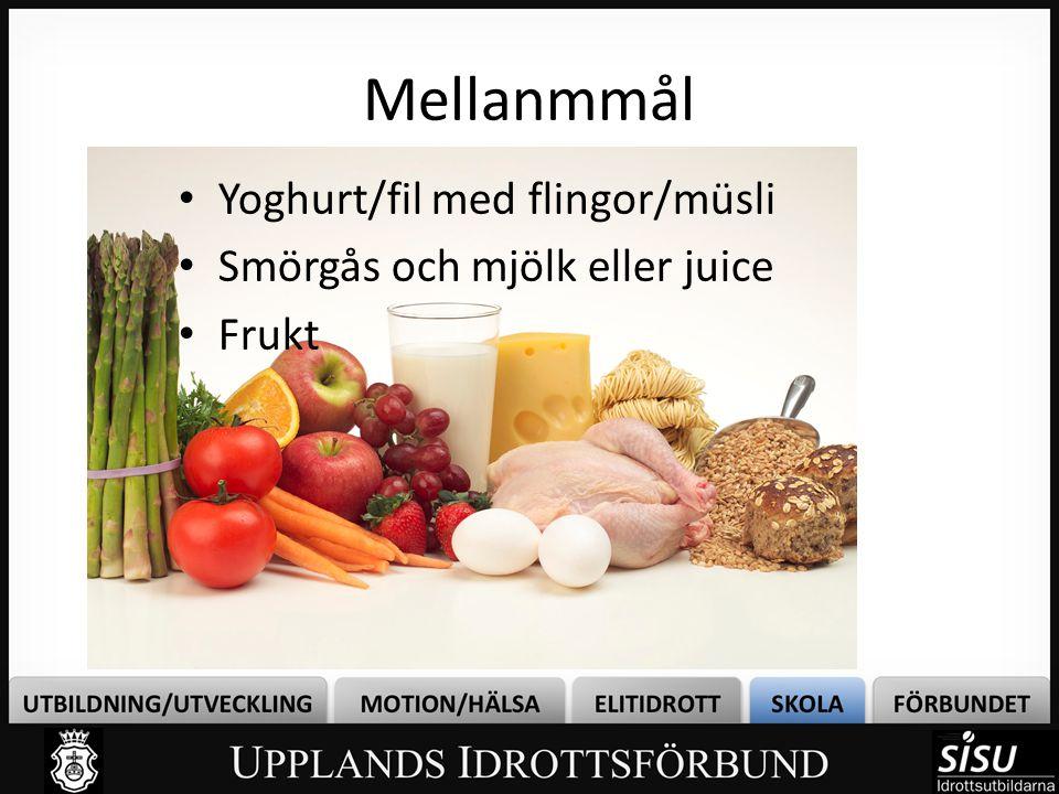 Mellanmmål Yoghurt/fil med flingor/müsli Smörgås och mjölk eller juice