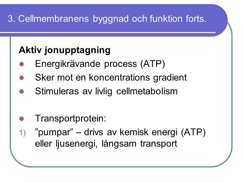 3. Cellmembranens byggnad och funktion forts.