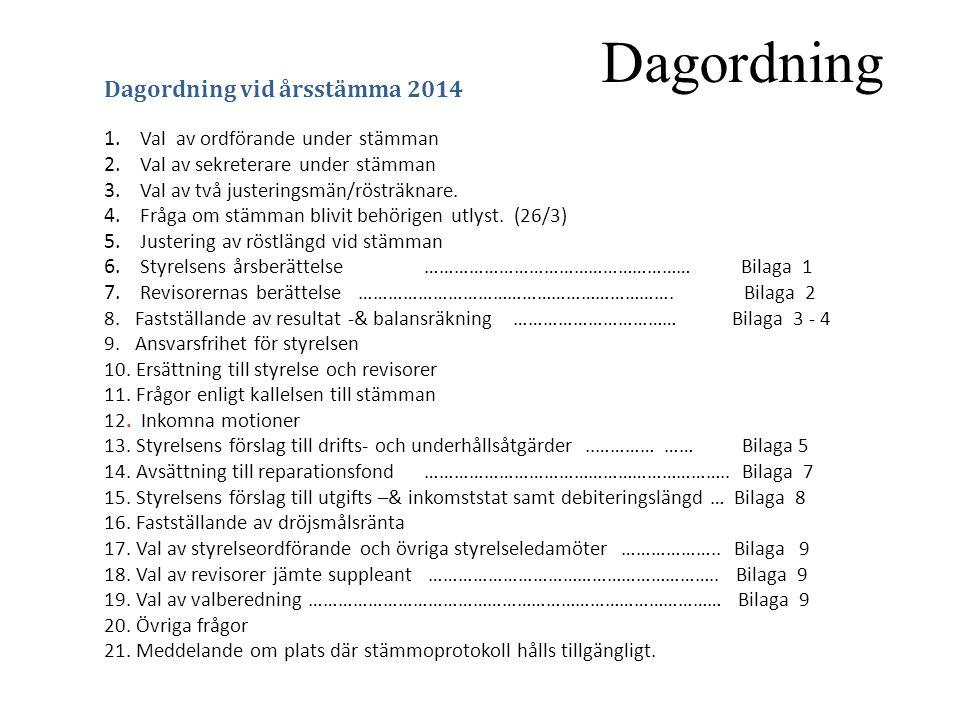 Dagordning Dagordning vid årsstämma 2014