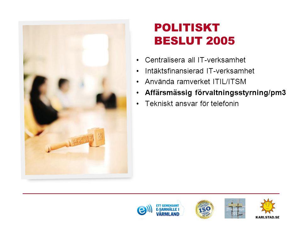 POLITISKT BESLUT 2005 Centralisera all IT-verksamhet