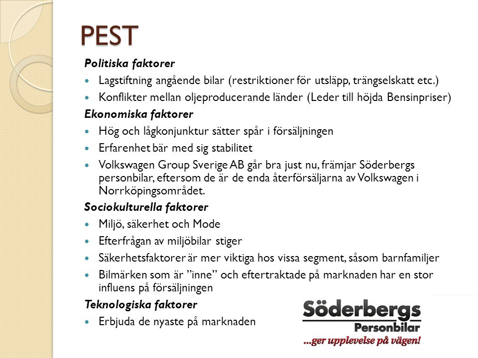 PEST Politiska faktorer