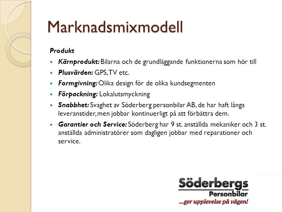 Marknadsmixmodell Produkt
