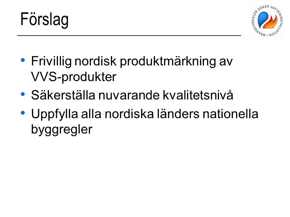 Förslag Frivillig nordisk produktmärkning av VVS-produkter