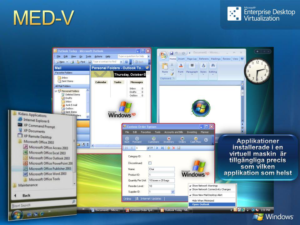 MED-V Applikationer installerade i en virtuell maskin är tillgängliga precis som vilken applikation som helst.