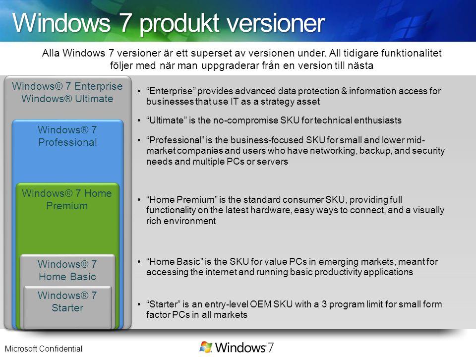 Windows 7 produkt versioner