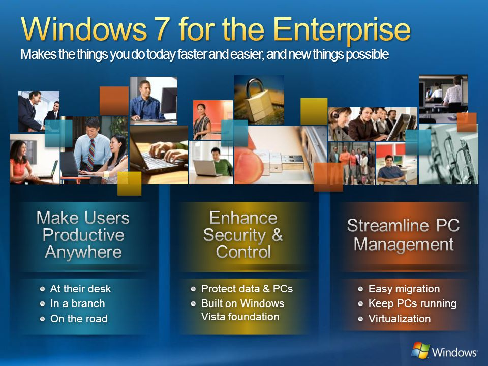 Windows 7 for the Enterprise Makes the things you do today faster and easier, and new things possible